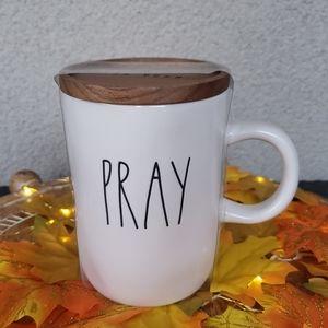 New Rae Dunn Pray Mug with Wooden lid